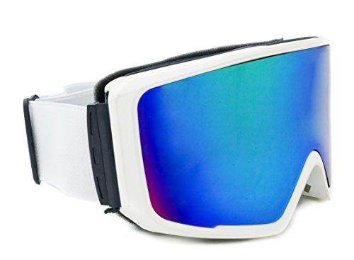 Skibrille verspiegelt Lake Placid 2017 unisex mit magnetischem Wechselglas inkl. Eva-Box + Brillenputztuch + für Brillenträger geeignet kratzfeste Schneebrille Snowboardbrille (matt weiß)