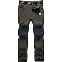 Los pantalones al aire libre de los hombres que son de fleece impermeable de c¨¢scara blanda 815A Ejercito Verde M