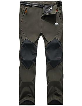 [Patrocinado]Los pantalones al aire libre de los hombres que son de fleece impermeable de c¨¢scara blanda 815A Ejercito Verde L