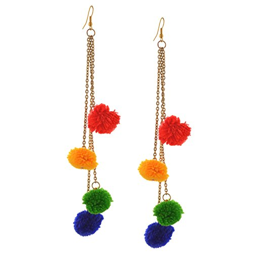 Zephyrr Fashion Multicolor Pom Pom Hook Dangle Tassel Earrings For Women