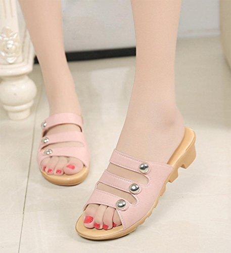 mode femme sandales plates avec le mot glisser des sandales plates occasionnels et des pantoufles glisser femme Pink