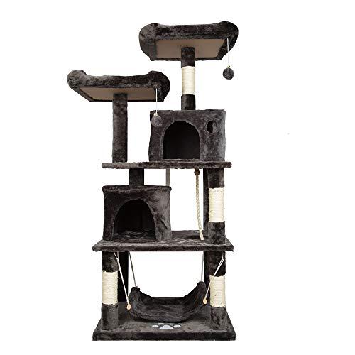 HENGMEI Kratzbaum Kletterbaum Katzenbaum Spielbaum mit Hängematte, Höhle Katzenmöbel für Katzen (Modell B, Rauch grau) (Ecke Weihnachten Baum)