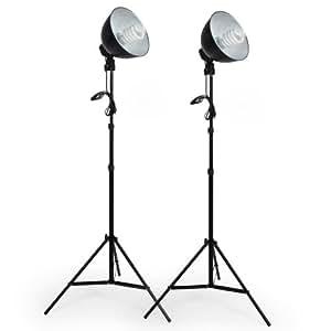 TecTake Continuo Kit illuminazione Set 5500K (2 x lampada) Set fotografico luce diurna