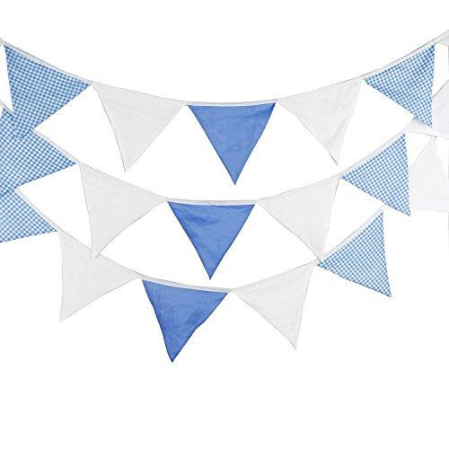G2Plus Lovely Bunting Banner La Bandera De 5,5m banderín Bandera Banderas Vintage Shabby Chic Decoración de Tela de doble cara de triángulo de tela de guirnaldas para fiestas Ceremonias Cocina Multicolor, azul celeste
