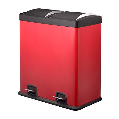 Doppelmülleimer 60L | Rot Abfalleimer von HARIMA | Pulverbeschichteter Stahltreteimer | Hochwertige Kunststoffdeckel | 2 x 30 L herausnehmbare Abteilezur Mülltrennung und einfachem Recycling