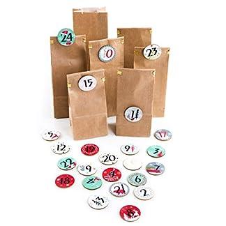 Logbuch-Verlag – Set de 24 Bolsas de Papel + 24 calendarios de Adviento con números de Discos de Madera + Pinzas de Madera, Calendario de Navidad para Rellenar Manualidades para Decorar Navidad
