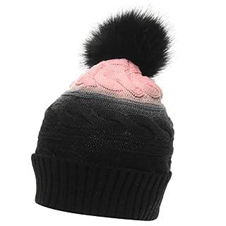 Golddigga Womens Axial Beanie Hat Bobble Warm Faux Fur Black/Pink Ladies