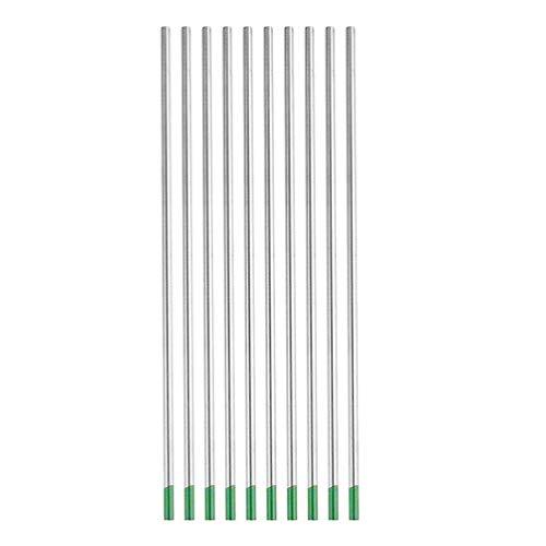 TIMLand Wolfram-Elektrodenschweißstäbe Green Head 10 Stücke Wolfram-Lichtbogenschweißen Wolfram-Argon-Wig-Stab für Schweißgerät - 2,4 * 175 Mm -
