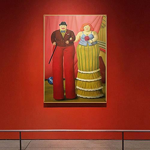 MhY Abstrakte Fernando Botero Stelzenläufer Clown Moderne Malerei Paar Poster drucken Bunte Wandkunst Bilder für Wohnzimmer Aisle 40cm x60cm No Frame