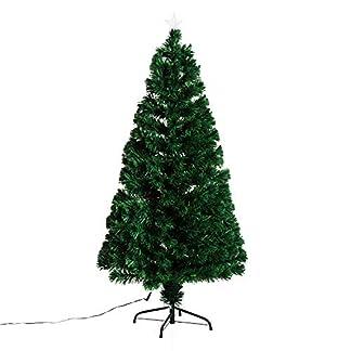 HOMCOM Árbol de Navidad 150cm Artificial Árboles de Abeto con Soporte Fibra Óptica Brillante LED Ignífugo
