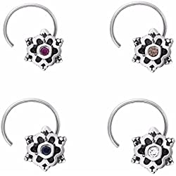 Shine Jewel 925 silver round multi cubic zirconia vintage style nose pin for girls