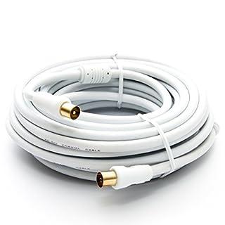 10m PremiumX HDTV TV Antennenkabel Koax Stecker auf Buchse vergoldet 75 Ohm Koaxialkabel für Kabelanschluss DVB-T DVB-T2 mit Mantelstromfilter - 2X Ferritkern - Weiß