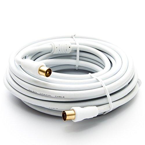 PremiumX 30m HDTV TV Antennenkabel Koax Stecker auf Buchse vergoldet 75 Ohm Koaxialkabel für Kabelanschluss DVB-T DVB-T2 mit Mantelstromfilter - 2X Ferritkern - Weiß