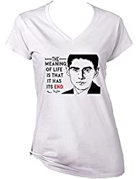 Teesquare1st Women's FRANZ KAFKA - THE MEANING OF LIFE White T-Shirt