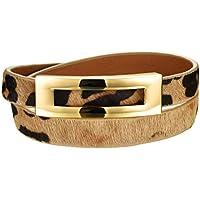 HIJONES Uomo Leather Wrap Bracciale in Acciaio Con Fibbia Doppio Filo Wristband (Ridimensionabile)