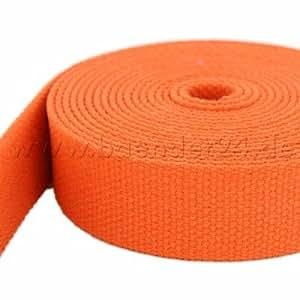 1m Gurtband aus Baumwolle, Farbe: orange, 38mm breit