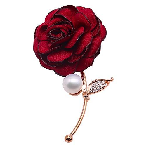 JYX Perlen-Brosche Rosen-Form, 9,5 mm, weiße Süßwasserperle - Pearl Mädchen Jacke