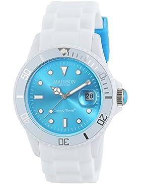 MADISON NEW YORK Unisex-Armbanduhr Candy Time White Fashion Analog Quarz Silikon U4359B1