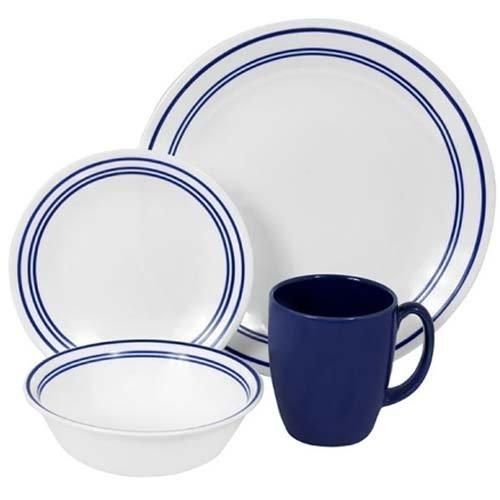 Corelle Livingware 16-Piece Dinnerware Set, Classic Cafe Blue, Service for 4 by Corelle Corelle Classic Cafe