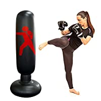Inflatable Punching Bag Boxing Punch Bag Kid`s Kickboxing Bag Free- Standing Fitness Target Stand Tower Bag Free Standing Tumbler Column Sandbag for Relieving Pressure Body for Adults and Kids