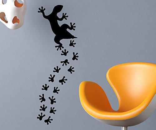 S/s Tabelle (Wandtattoo Set Eidechse + 16 Fußspuren Echse Spur Flur Diele Gecko Gekko Küche Aufkleber Tiere Tür Wohnzimmer 1B441, Farbe:Weiß glanz;Motiv Größe:Mittel (s.Tabelle))