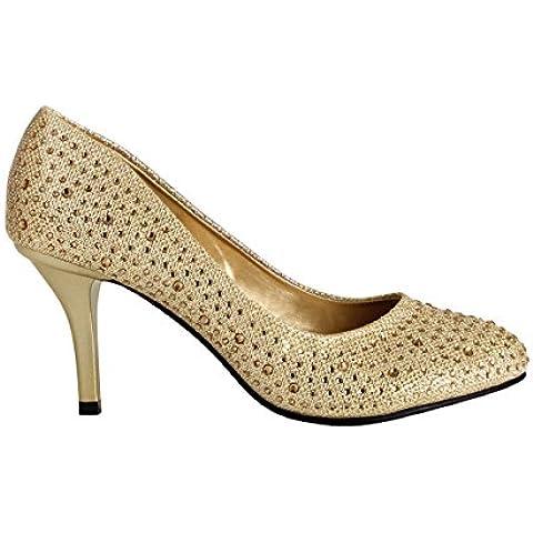 Zapatos de Tacón Aguja Salón Brillantes Elegantes Fiesta Boda Plateados Dorados Negros Nuevo
