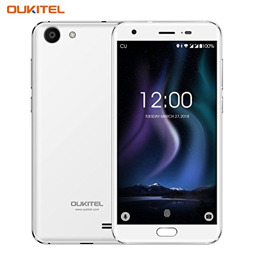 Günstiges Handy, Oukitel K4000 Plus 4g Dual Sim Smartphone Ohne Vertrag 5.0 Zoll 4100mAh großem Akku Android Handy mit fingerabdrucksensor, 13.0MP Hauptkamera, 2GB RAM+16 GB ROM, Bluetooth -Weiß
