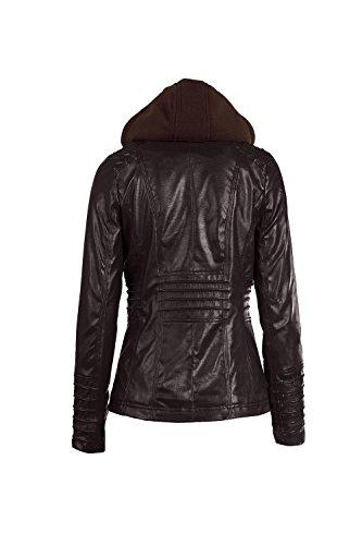 Le Donne Di Taglia Cerniera Moto Motociclista Faux Cuoio Vestiario Cappotto Giacche Al Massimo Brown