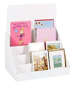 Stand-Store Présentoir 4étages en carton pour cartes de vœux Blanc 14.5 Inch blanc
