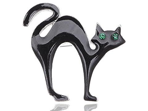 Unique pour Halloween Noir émeraude Broche chat cristal émail en forme d'yeux globuleux