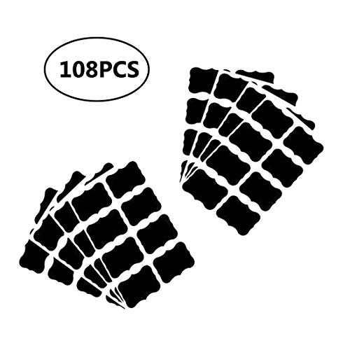 Hebudy etichette lavagna adesivi per lavagna adesivo lavagna etichette per barattoli per tazze e bottiglie 108 pezzi