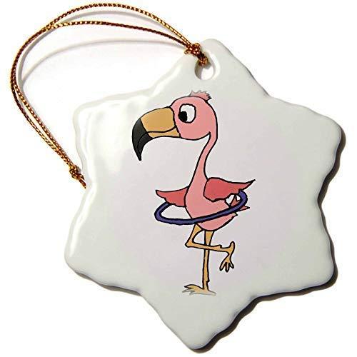 GFGKKGJFF Dekofigur, Motiv: Pinker Flamingo-Vogel mit Hula-Hoop-Motiv, Keramik, Weihnachtsdekoration, für Paare, Verlobung, Andenken