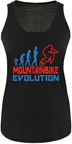 EZYshirt® Mountainbike Evolution Damen Tanktop Schwarz/Blau/Rot