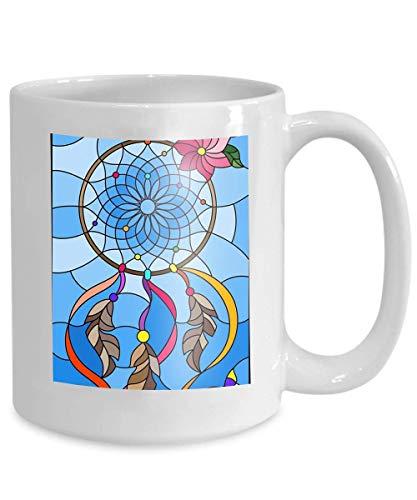Ahaltao Taza de café Regalos para 11 Oz Taza de té Ilustración Blanca Estilo vitral atrapasueños Mariposas Cielo Fondo vidrieras sueño Marca de Agua