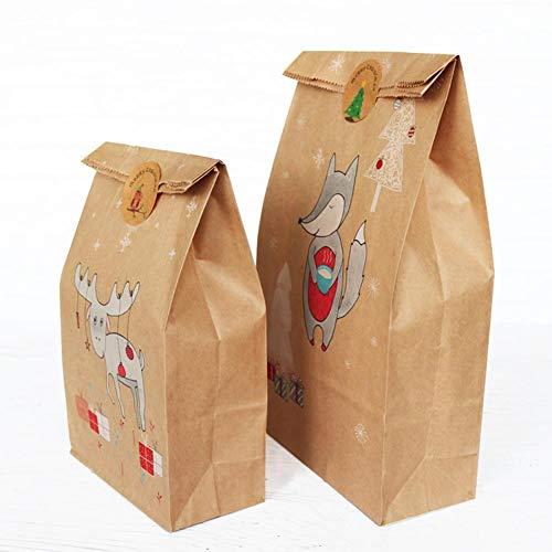 48 bolsas papel kraft regalo Navidad diseño zorros