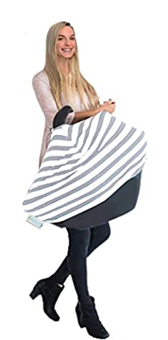 ☼ Keoze - Nouvelle couverture design siège bébé à rayures 2017 coton garçon et fille * Qualité supérieure * Couverture 4 en 1 Multi usage et extensible pour le maxi cosi – Couverture siège auto bebe – Couverture et voile d'allaitement bébé au lait – Couverture poussette/landau – Couverture caddie transport - Accessoire bébé puericulture pour cadeau de naissance pas cher (baby shower) ou bapteme (gris et blanc)