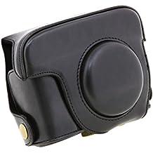 SODIAL(R) Nero PU Custodia in pelle per custodia per telaio in pelle e cintura per Canon Powershot G15 G16