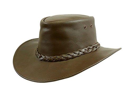 Kakadu Traders Lederhut Murray in braun mit gerader Krempe und geflochtenem Hutband | Herren Damen Größe L | ()