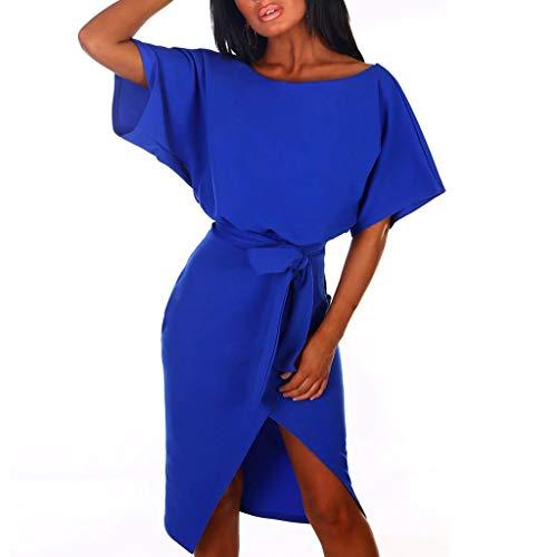 ♥ Loveso♥ Kleid Damen Elegant Bodycon Abendkleid, Frauen Kurzarm Partykleid Cocktailkleid Elegant Festkleid Bekleidung Mit Gürtel