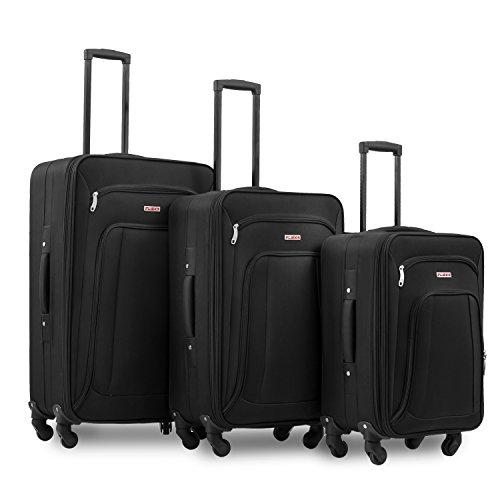 Stoffkoffer Kofferset Reisekoffer Set3tlg.Trolleys mit Zahlenschloss, Flieks EVA Gepäckmit 4 Rollen,Set-XL-L-M (Schwarz)