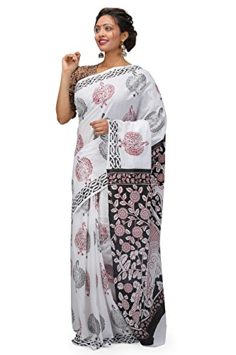 The Weave Traveller Handloom Hand Block Printed Cotton Saree for Women With...