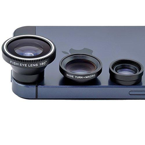 BXT® 3-in-1 Magnetische Fish Eye Lens 180°Fischaugen Objektiv + Weitwinkel + Micro Objektiv Kamera Kit für iPhone 4 4S iPhone 5 5S 5C Samsung Galaxy S4 S3 S2 HTC ONE Mobile Phone - Glas-linse S2 Galaxy