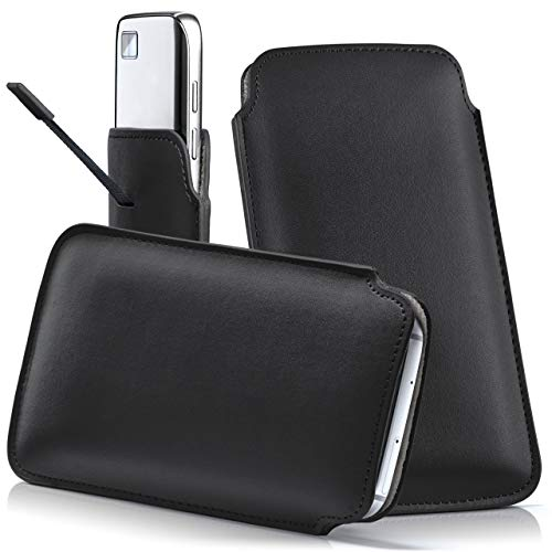 moex BlackBerry Classic | Hülle Schwarz Sleeve Slide Cover Ultra-Slim Schutzhülle Dünn Handyhülle für BlackBerry Classic Q20 Case Full Body Handytasche Kunst-Leder Tasche