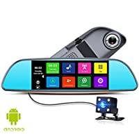 Anstar 6.86 Inches Touch RAM 1GB ROM 16GB 2 Split View Android GPS Navigation Mirror Car DVR dual lens camera rear parking WiFi FM or Can As the Gift (X3 16G)