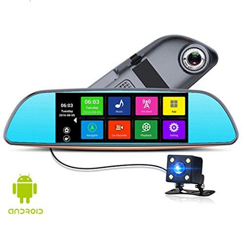 Anstar 6.86 pollici touch RAM 1GB ROM 16GB 2 Split View GPS Android di navigazione dell'automobile dello specchio DVR doppio obiettivo di parcheggio posteriore della fotocamera WiFi FM o può come il regalo