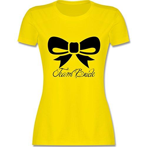 JGA Junggesellinnenabschied - Team Bride Schleife - tailliertes Premium T-Shirt mit Rundhalsausschnitt für Damen Lemon Gelb