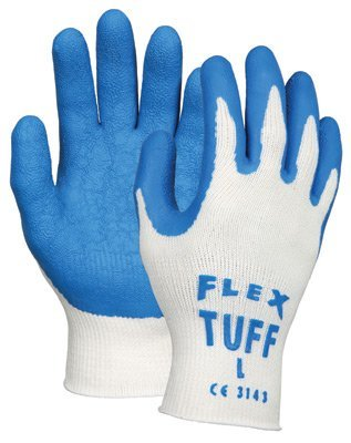 Memphis Medium FlexTuff(R) 10 Gauge Cut Resistant Blue Natural Rubber Latex Dipped Palm And Finger Coated Work Gloves With White Seamless Knit Cotton And Polyester Liner by Memphis Gloves -