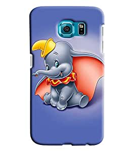 Blue Throat Cute Little Elephant Printed Designer Back Cover For Samsung Galaxy S6 Edge