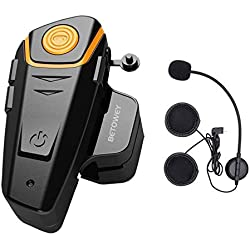 Intercom Moto Bluetooth, ENCHICAS BT-S2 Kit Oreillette Bluetooth Casque Moto Interphone Main Libre