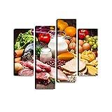 Verschiedene Arten von Lebensmitteln auf rustikalen Holztisch Premium Leinwanddruck Kunstdruck Wandbild Fotoleinwand Moderne Dekoration für Wohnzimmer Schlafzimmer fertig zum Aufhngen 4 teilig